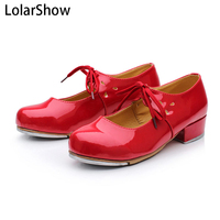 Red Low Heel PU Tap Shoes with toe taps Girls Childrens by Dance Gear LHPR