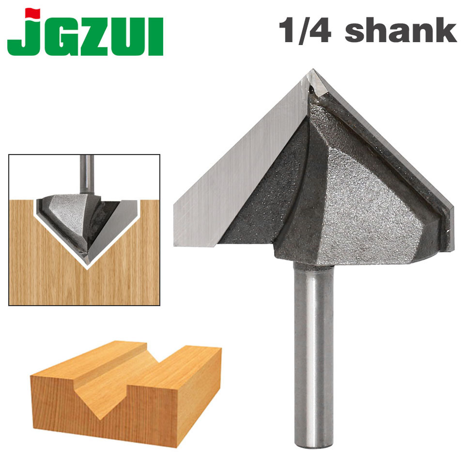 "1pc 1/4"" Shank 90 Degree V Groove Sign Lettering V Groove V Grooving Router Bit 1 3/4""x 30mm-in Milling Cutter from Tools"