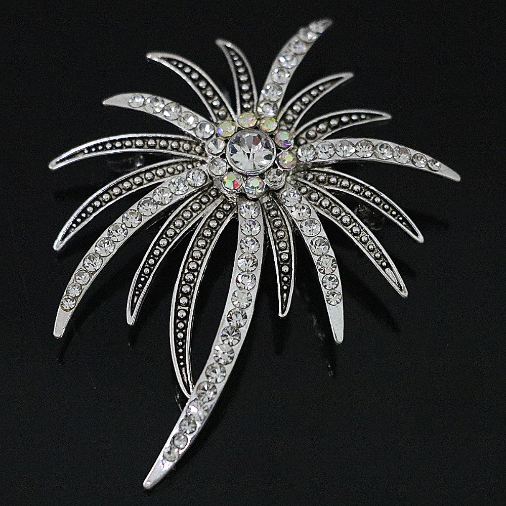 New Coconut tree rhinestone crystal brooch woman wholesale retail party gift silver plated jewelry B1207