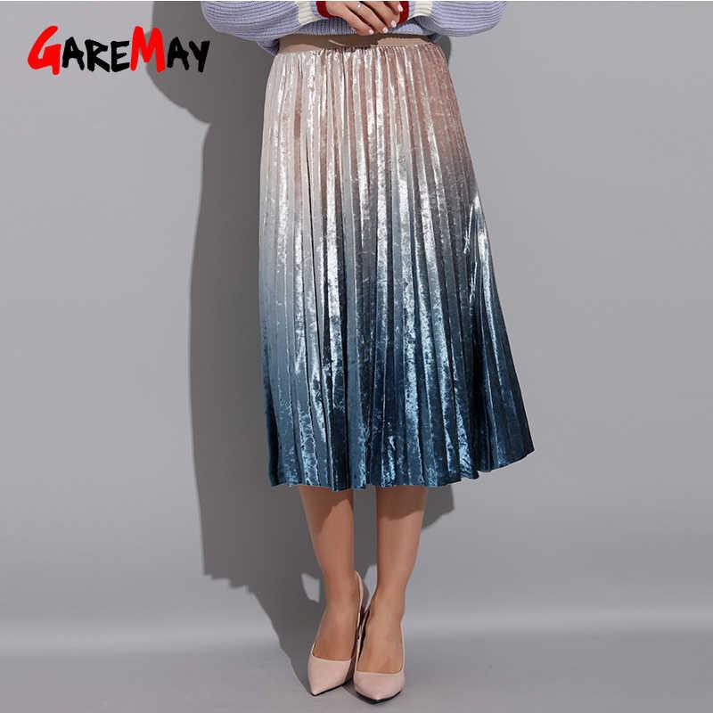 c0dad66ea Gradient Skirt Pleated Long Skirt Woman Elegant High Waist A-Line Pleated  School Midi Skirt