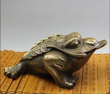 Copper bronze toad Lucky Cai antiques antique crafts ornaments collectibles  shipping