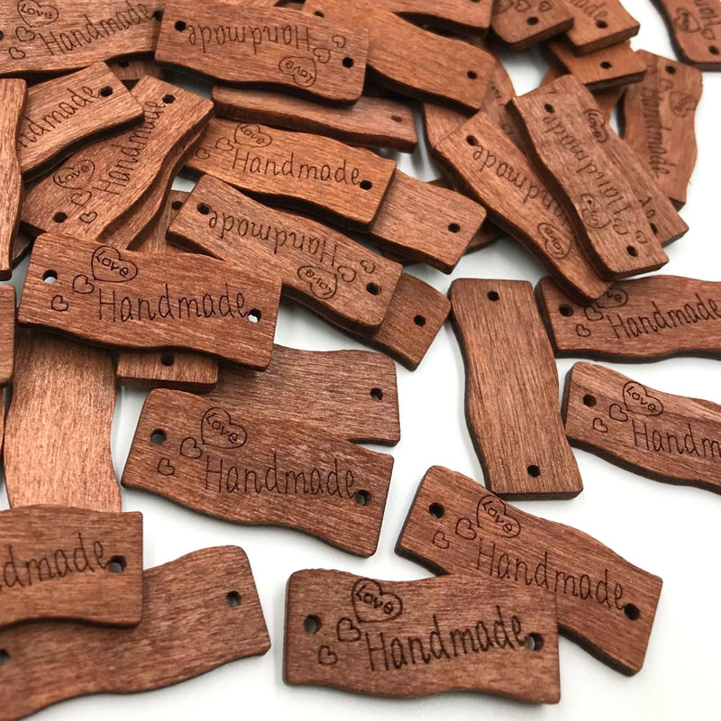 50pcs <font><b>30mm</b></font> Wooden <font><b>Buttons</b></font> Handmade Letter Love Scrapbooking For Wedding Decoration WB426 image
