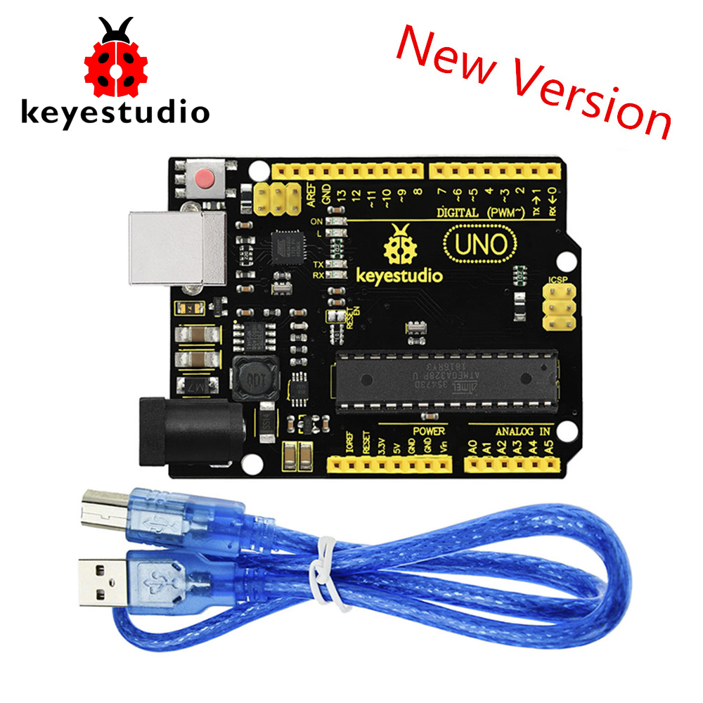 NEW Version! Keyestudio Super UNO R3 Atmega 328 Board Advanced MP2307DNSOP 8 +USB Cable For Arduino UNO R3 DIY Project