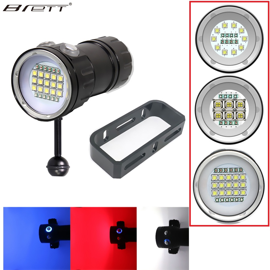 Nouveau LED lampe de poche de plongée sous-marine 80M XHP70/L2 photographie caméra vidéo lampe de poche tactique bleu + blanc LED lampe de poche