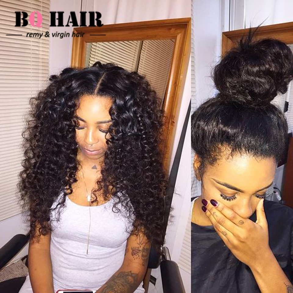 BQ HAIR Cheveux Bresilien Soldes 8A Brazilian Human Hair 2 pcs Deep Wave with Pre Plucked 360 Weaving Frontal #1B Top Aliexpress hollister soldes