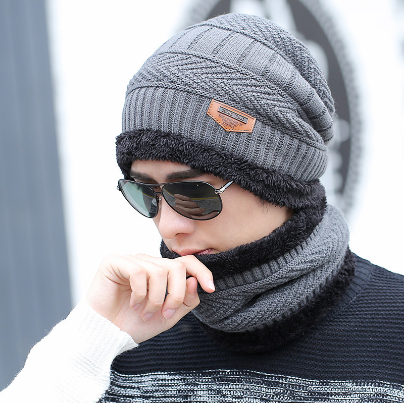 hot selling 2pcs ski cap and scarf cold warm leather winter hat for women men Knitted hat Bonnet Warm Cap Skullies Beanies 2