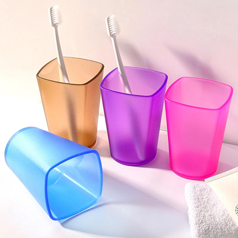 Color Toothbrush Holder Cup Eco-friendly Thicken Bathroom Tumblers Cup Translucent Frosted Rinsing Cup Wash Tooth Cup