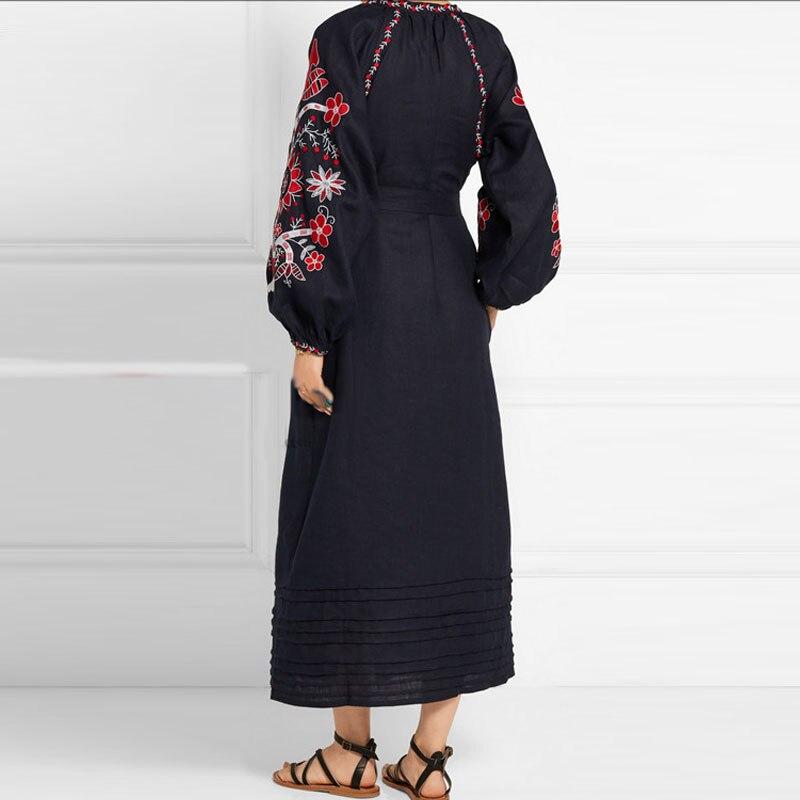 Xl Noir Femmes Vintage Robe Broderie Gland Linge Floral Brodé Robes Cou V 2017 Chic Festival Ethnique Boho pUSgw