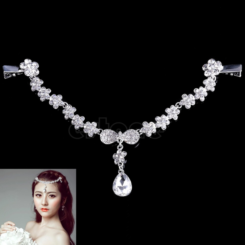 Crystal Frontlet Forehead Head Chain Wedding Bridal Jewelry Drape