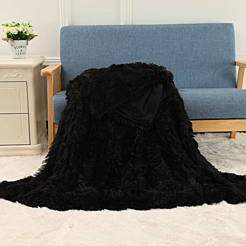 Luxury Blanket Long Plush Shaggy Silky Blankets Faux Fur Throw Double Bedspread Summer Black Throw Blanket Luxury Blanket Long Plush Shaggy Silky Blankets Faux Fur Throw Double Bedspread Summer Black Throw Blanket