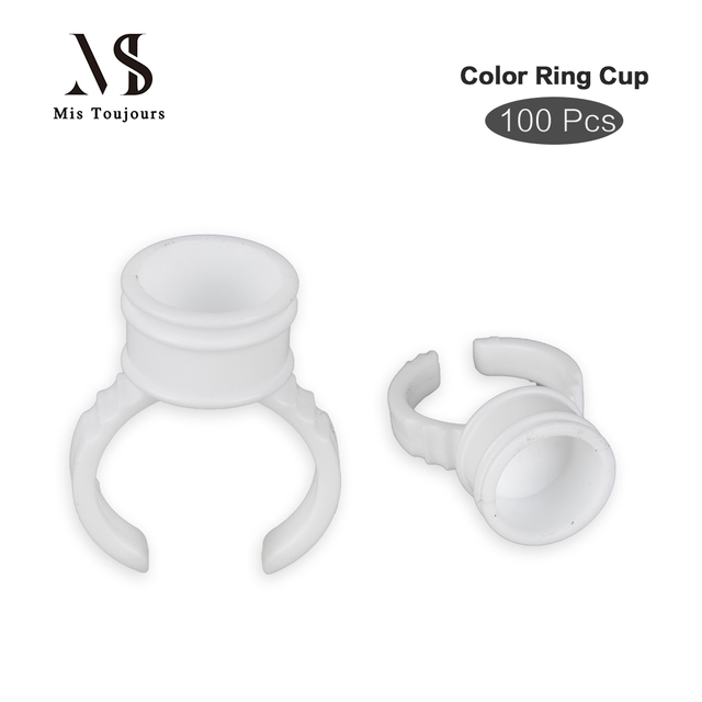 100pcs Disposable Finger Tattoo Ink Cup For Permanent Make up Ring Shape Microblading Pigment Holder Tattoo Accessories