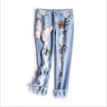Europe and the United States women's new winter 2016 Worn out show thin butterfly sequins loose nine points straight jeans