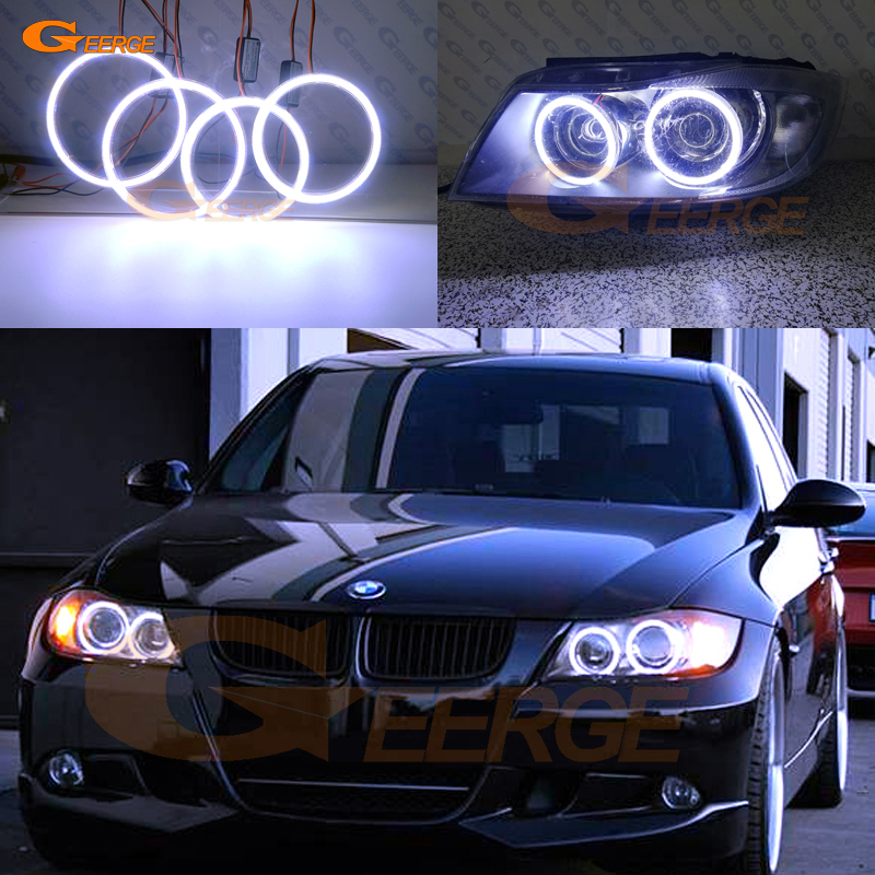 For BMW 3 Series E90 E91 2005 2006 2007 2008 Xenon headlight Excellent Ultra bright illumination COB led angel eyes kit for alfa romeo 147 2005 2006 2007 2008 2009 2010 headlight ultra bright illumination cob led angel eyes kit halo rings