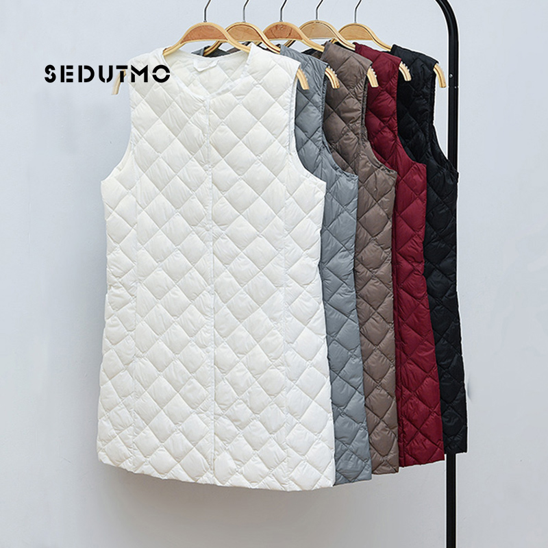 SEDUTMO Winter Plus Size 3XL Women Down Vest Long Ultra Light Duck Down Coat Autumn Puffer Jacket Waistcoat Slim Parkas ED614