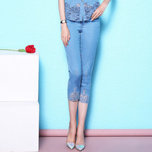 Summer plus size womens jeans straight calf-length breathable cotton fashion lace hollow out NW18B2611