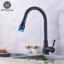 LED Цвет изменение Pull Down/Out Носик ванной кухонной мойки кран Нажмите Одной ручкой повернуть кухни с моноблочной краны