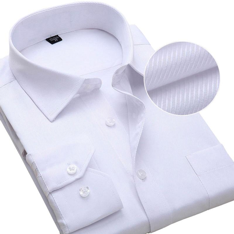 Plus Size Long Sleeve Men Dress Shirt Fashion Male Business Formal Wear Office Working Shirts 6XL 7XL 8XL white shirt