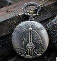 Горячей Продажи Старинные Антикварные стиле Шанхай Oriental Pearl Tower кварцевые карманные часы ожерелье с цепочкой