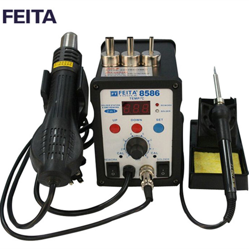 ФОТО FEITA FT8586 Rework Soldering Station Solder Iron with Heat Hot air Gun ESD Tips BGA Hot Air Nozzles