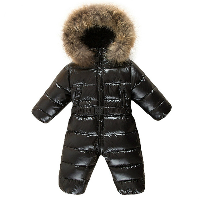 Cekcya Children's Winter Jumpsuit Infant Snowsuit Baby Thick Down Fur Coat Newborn Snow Wear Rompers for Boy Girl Parka Costumes