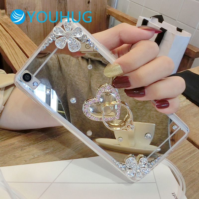 For IPhone7plus Diamond Crystal Silver Bow Apple 8 6S Mirror Phone Case with Bracket