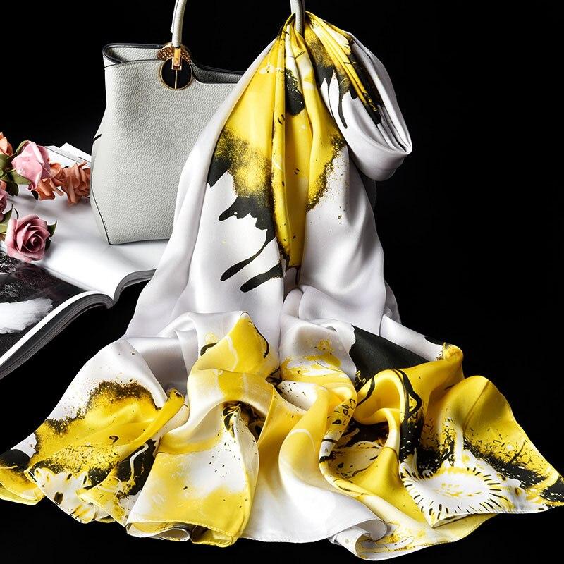 100% Pure Zijde Sjaal Dames Luxe Merk 2019 Hangzhou Zijde Sjaals en Wraps voor Vrouwen Double layer Natuurlijke Echte zijden Sjaals