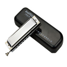 Hot Sale 10 Holes 40 Tones Advanced Chromatic Harmonica With Case Box Wipe Cloth For Musical