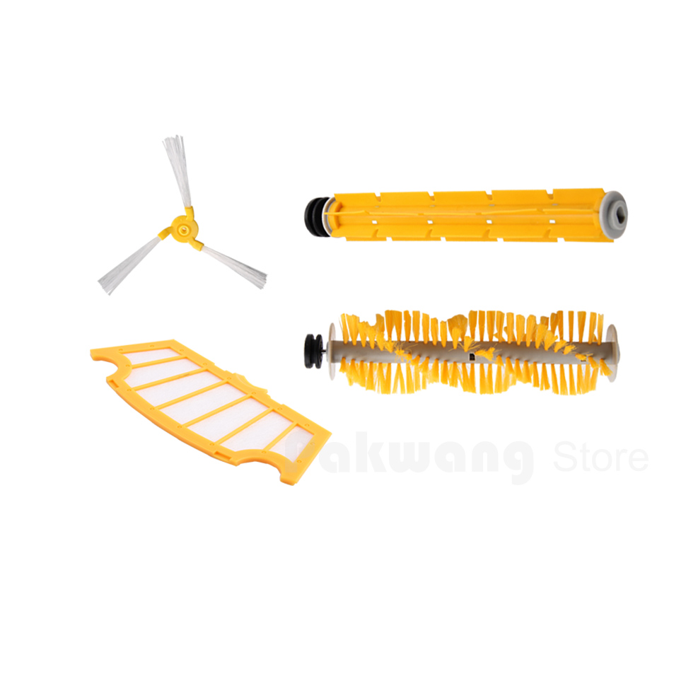 A325 Robot Vacuum Cleaner Spare Parts : Hair Brush,  Rubber Brush, Side Brush and Filter robot vacuum cleaner sq a380 d6601 spare parts hair brush main brush accessories side brush