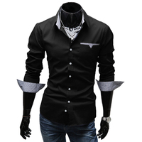 2017 Fashion Men S Shirt Stylish Long Sleeve Turn Down Collar Printed Spliced Button Up Blouse