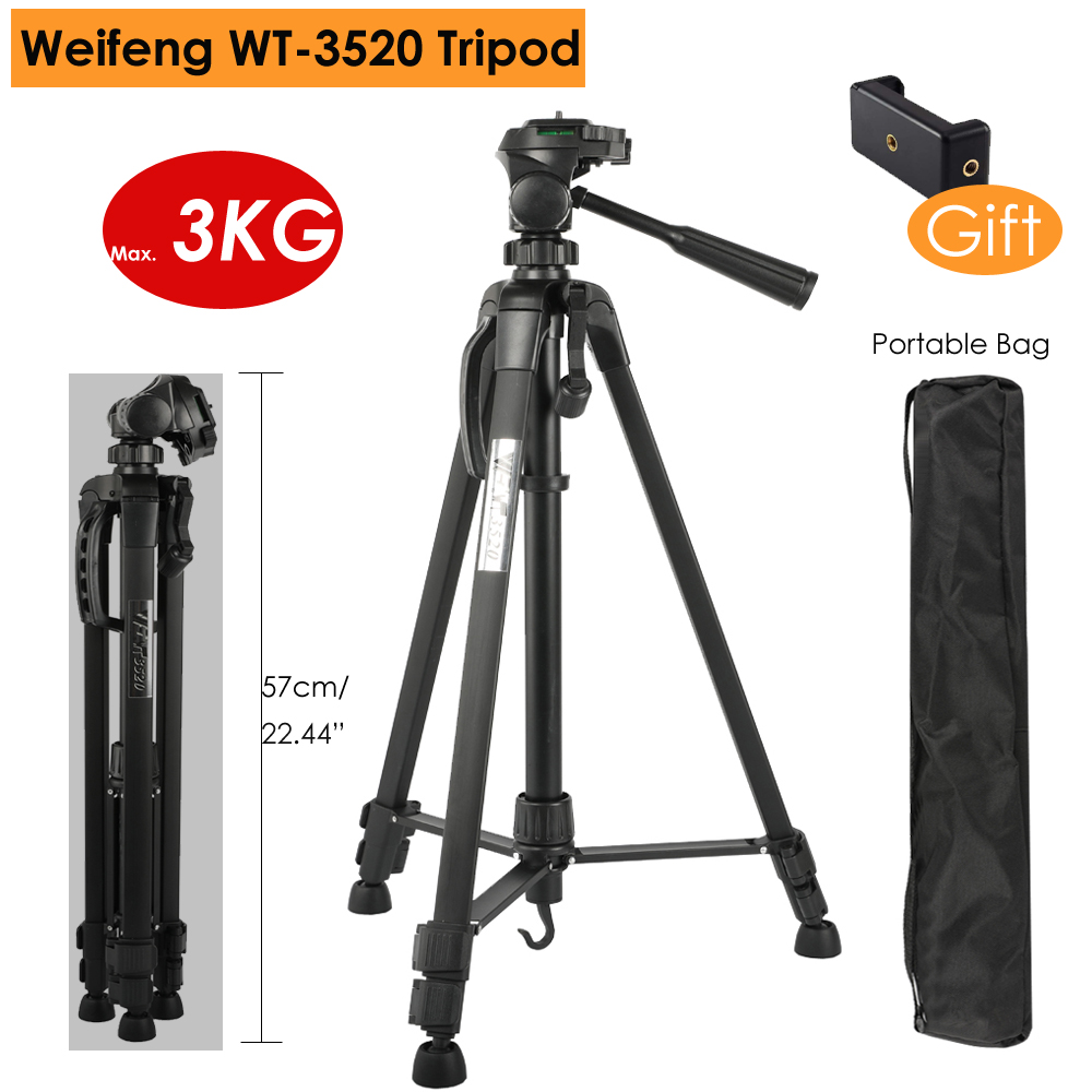 Weifeng Camera DSLR Professional Portable Aluminum Alloy Tripod W/ 3-Way Panel Ball Head For Canon Nikon Sony SLR, Max Load 3KG