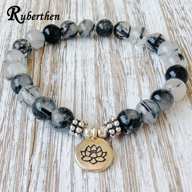 Ruberthen Genuine Rutilated Quartz Bracelet High Quality Men S Depression Anxiety Relief Wrist Mala