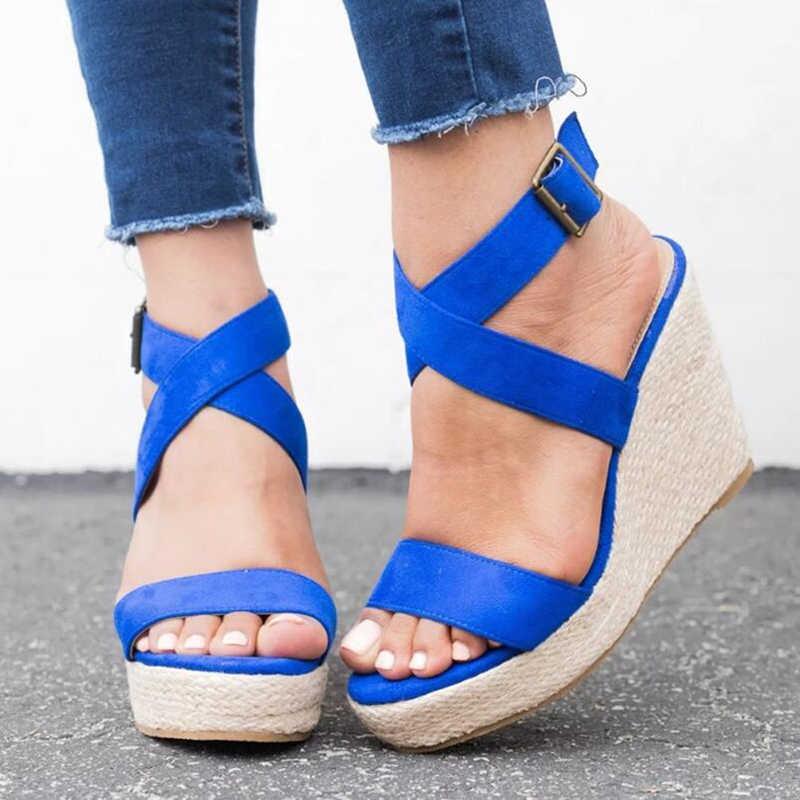 MoneRffi verano mujeres tacones altos boca de pez hebilla cruzada correa de tobillo abierto dedo del pie al aire libre cuña atada cruzada 2019 sandalias de Mujer