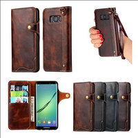 Button Retro Vintage Lanyard Book Flip Genuine Leather Wallet Case for Samsung Galaxy S8 Phone Cover Coque