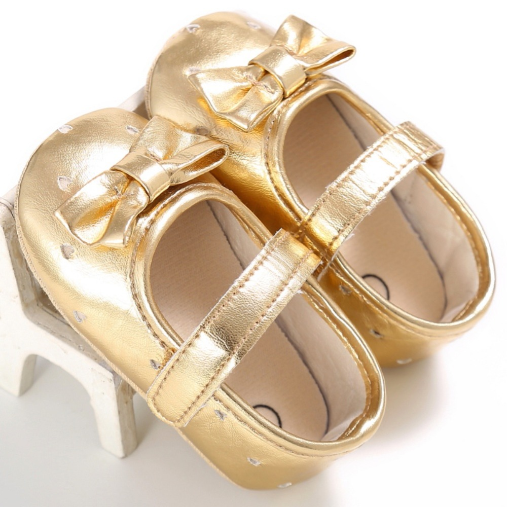0-18M Infant Baby Girl Bow Anti-slip Crib Shoes Kid Soft Sole Sneakers PU Leather Prewalker New