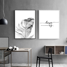 Nordic Minimalist Black And White Canvas Painting Feather Poster Abstract Wall Art Quotes Picture For Living Room Decor Unframed