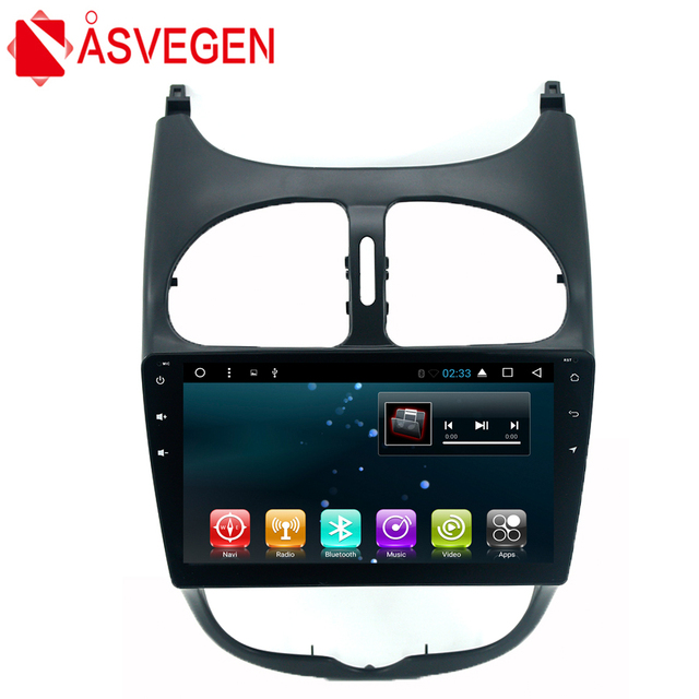 Car Stereo Radio DVD Player For Peugeot 206 Android 7.1 Quad Core 9'' Audio Bluetooth Wifi Multimedia GPS Navigation Mic