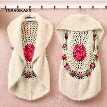 Women Knitted Vests 2019 Vintage Lady Handmade Hollow Out Tippets Coat Female 3D Flower Braid Waistcoat Cardigan colete feminino
