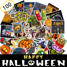 100pcs/Set Halloween Decorative Scrapbooking Graffiti Sticker Skull Pumpkin Cool Diary Decoration Car Stickers and Decals