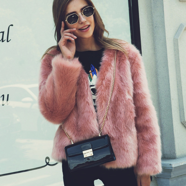 3ab521416 2018 New Autumn Winter Women Fluffy Faux Fox Fur Coats Short Furry Fake Fur  Outerwear Pink Casual Party Overcoat Female Green