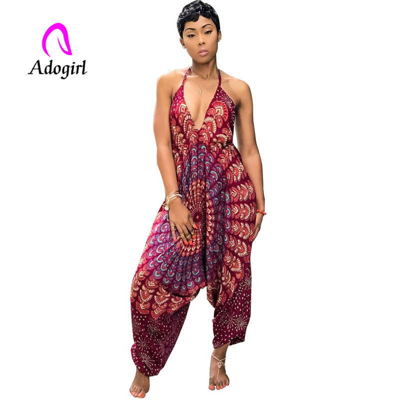 Adogirl Bohemian Halter Neck Lady Jumpsuits Sleeveless One Piece Suits Long Harem Pants Printed High Waist Rompers
