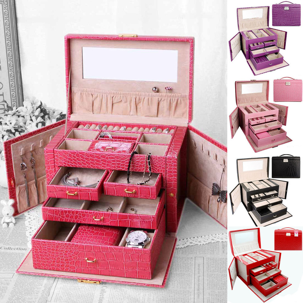Free Shipping Luxury Cosmetic Bag Case 5 Color 4 Floors