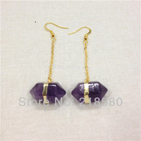 H CE24 Healing Crystal Amethyst Terminated Nugget Drop Earrings Silver Or Gold