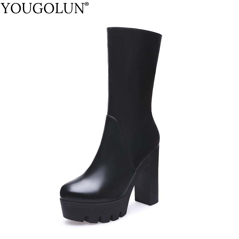 YOUGOLUN Winter Women Boots Mid-Calf Thick Square Heel Super High Heels 11.5 cm Black Round toe Zipper Platform Shoes #Y-254 spring black coffee genuine leather boots women sexy shoes western round toe zipper mid calf soft heel 3cm solid size 36 39 38