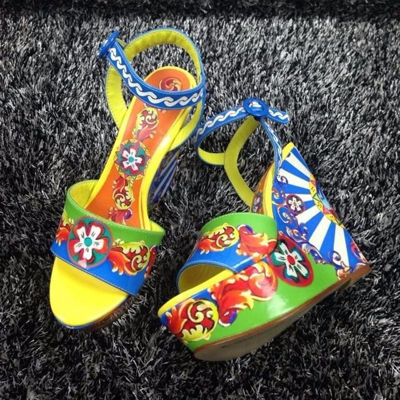 High Quality Women Summer Ankle Buckle Sandals Open Toe High Heel Luxury Colorful Flower Print Platform Dress Party Sandals Shoe summer causal open toe buckle high heeled thick waterproof platform sandals for women