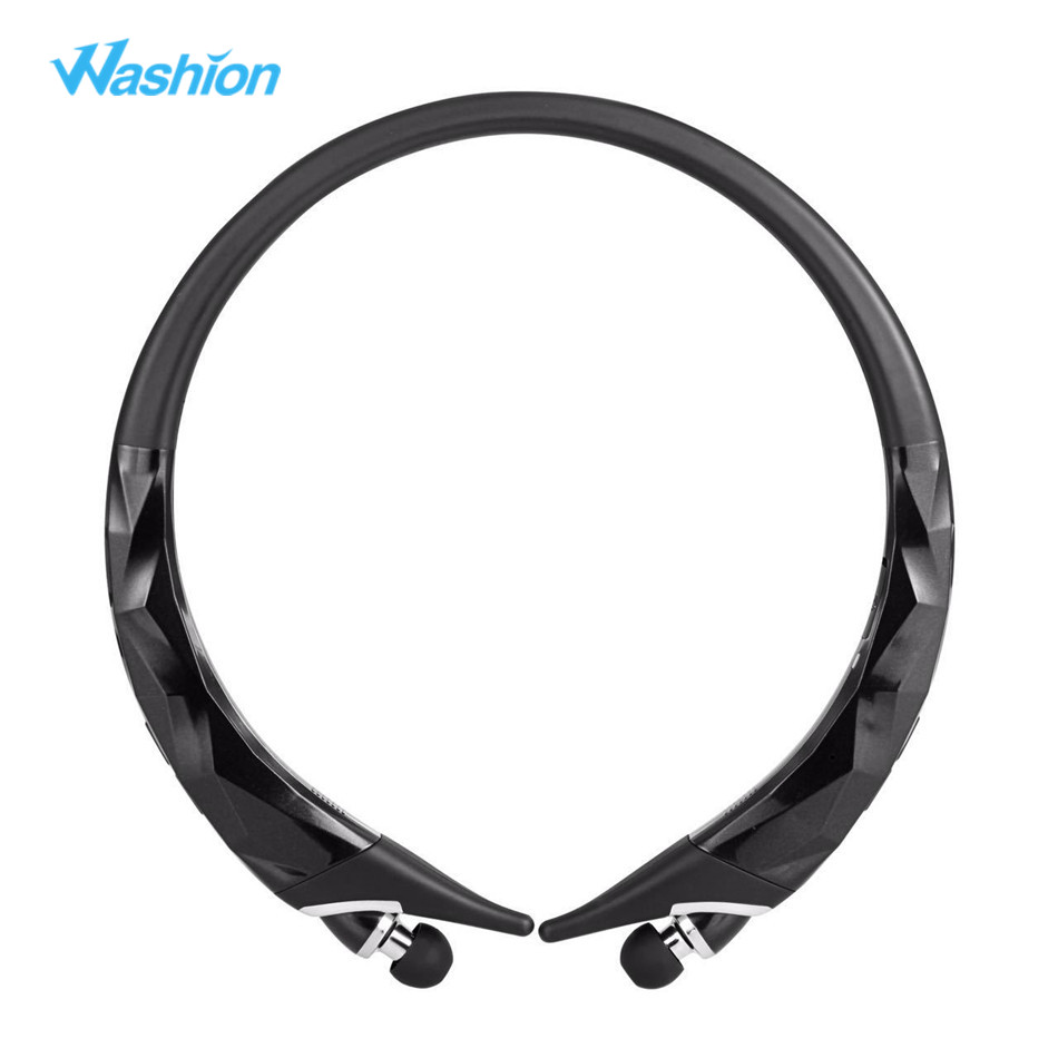 Washion Retractable Headphone Wireless Bluetooth Headset Stereo Noise Reduction HD Sound Aptx With Mic Sports Neckband Earphone