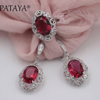 PATAYA Romantic Rainbow Jewelry Sets 925 Silver Green Natural Stone Ring Big Earrings Women Accessories Costume