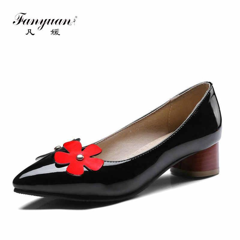 Fanyuan patent PU leer rood med vierkante hakken vrouw pompen kantoor carrière loafers schoenen lieve dame vrouwen schoenen plus size 43