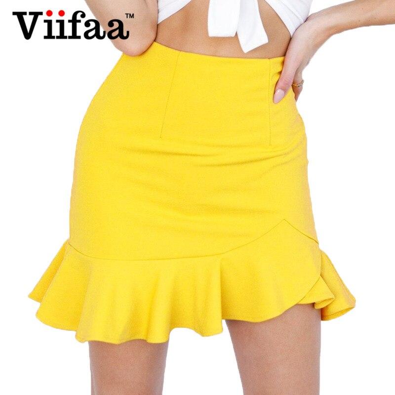 0d7eb871f1 Viifaa Women Yellow Sexy Short Skirt Summer 2018 Bodycon Office Skirts  Womens Ruffle Mini Asymmetrical Skirt