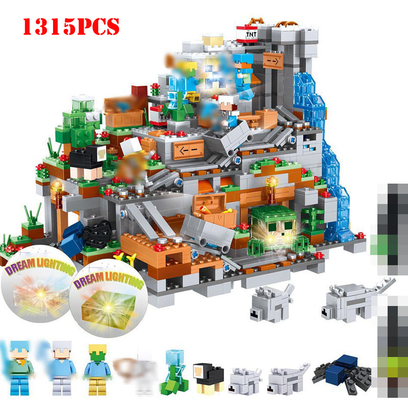 1315pcs My World Minecrafted Mountain Castle Action Figures Building Blocks Compatible Legoed Minecraft City DIY Bricks Toys Kid1315pcs My World Minecrafted Mountain Castle Action Figures Building Blocks Compatible Legoed Minecraft City DIY Bricks Toys Kid