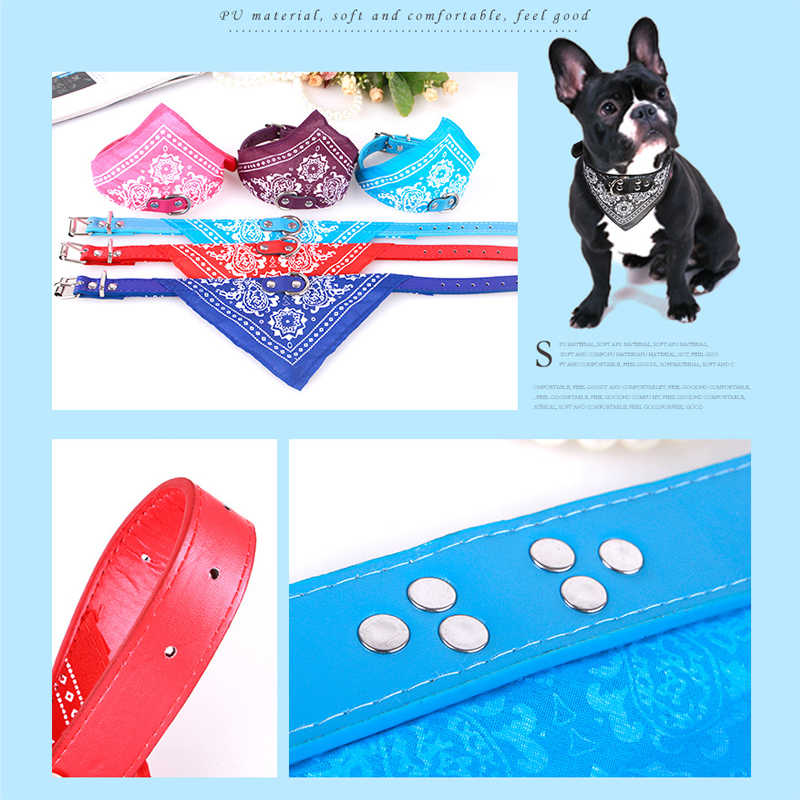 ファッション犬包帯襟猫スカーフネクタイ革ネッカチーフ小さな大型犬襟カスタムネックレスペットアクセサリー7色